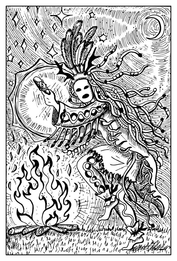 Shaman. Engraved fantasy illustration. Shaman or warlock with drum by fire. Fantasy magic creatures collection. Hand drawn vector illustration. Engraved line art stock illustration