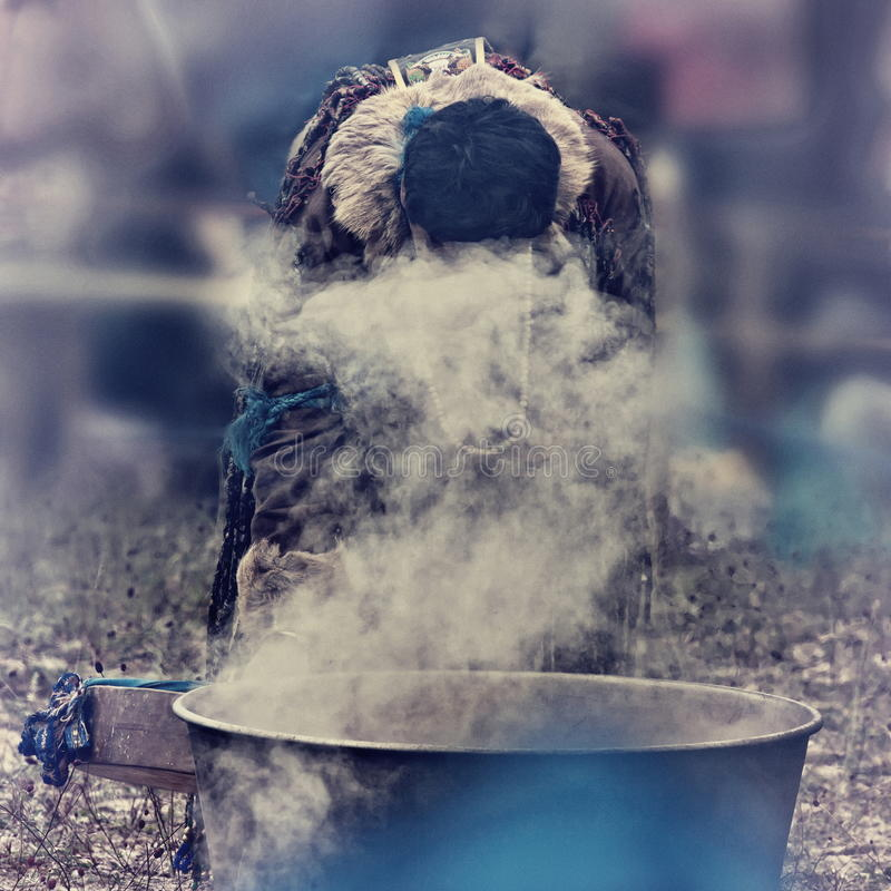 Shaman On A Fire Stock Images
