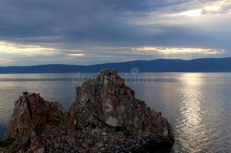 Shaman Rock on Baikal lake stock image