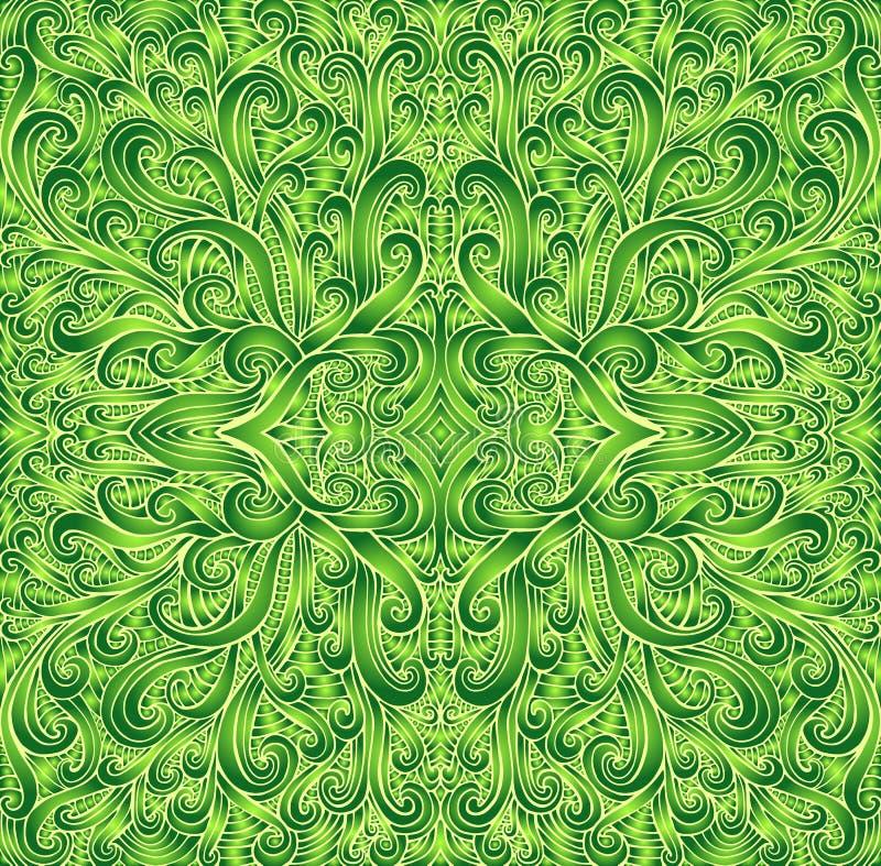 Shamanic幻想坛场纹理 Ethno?? 梯度绿色和浅绿色的颜色,黄色等高 装饰部族 向量例证