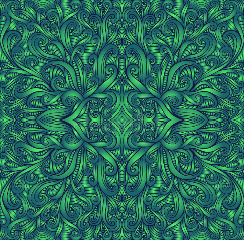 Shamanic fractal mandala texture. Ethno style. Ggradient green colors. Decorative tribal element flower pattern. Vector stock illustration