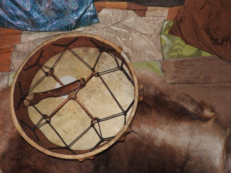Shamanic tambourine. Shaman drum. For rituals and rites stock photo
