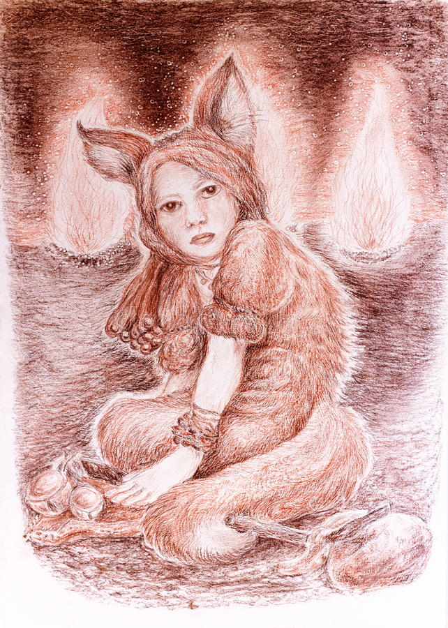 Shamanic young woman in fox costume sitting near sacred fires. During a celebration, beautiful fantasy detailed colorful painting, eye contact stock illustration