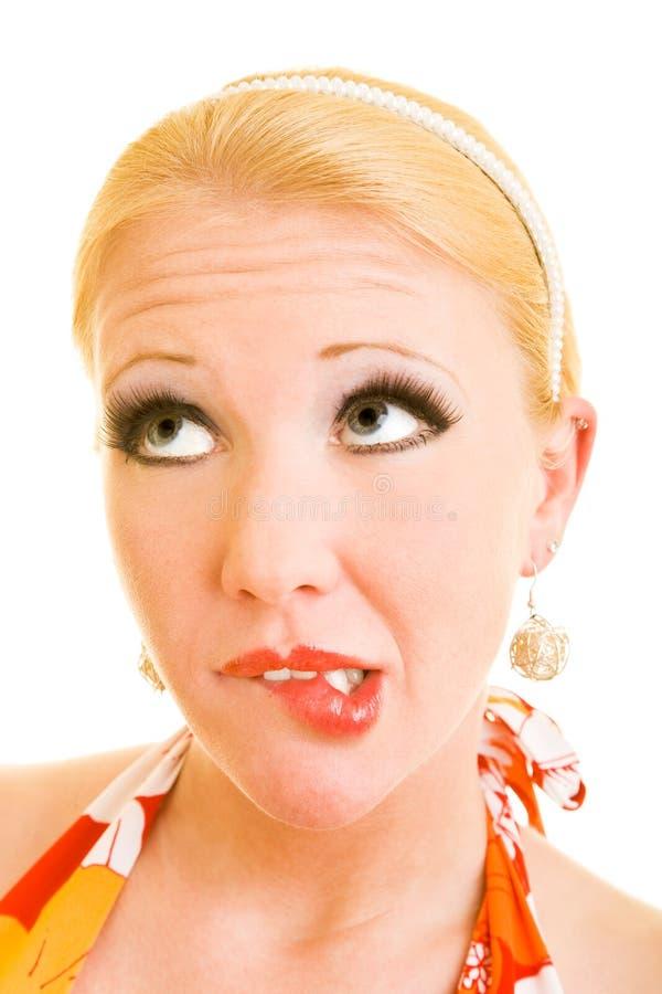 Download Shame stock image. Image of lipstick, biting, desire, looking - 8033651