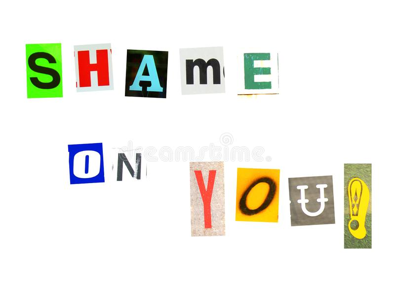 Shame on you made of newspaper letters stock images