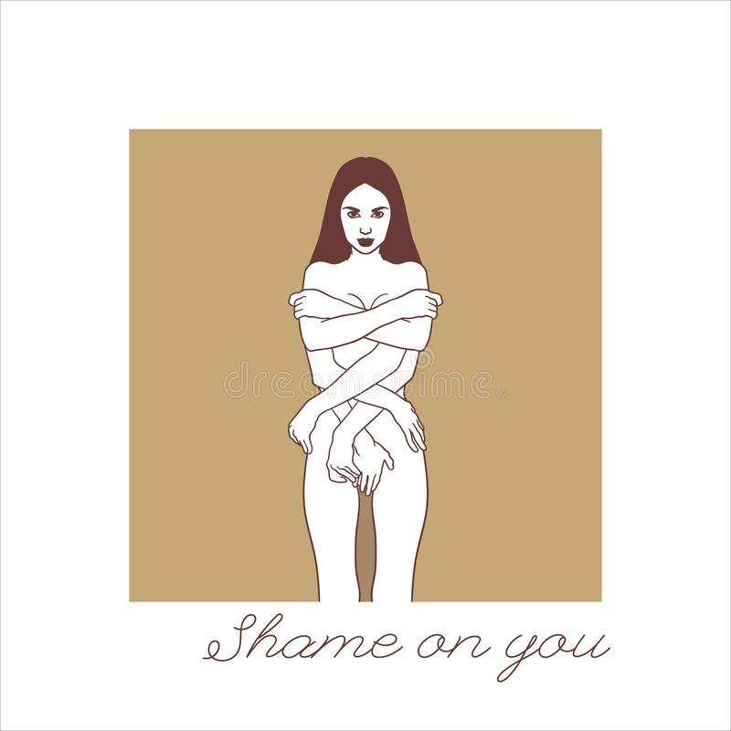 Shame on you. Vector hand drawn illustration of shy girl with many hands isolated. Creative tattoo artwork. Template for card, poster. banner, print for t royalty free illustration