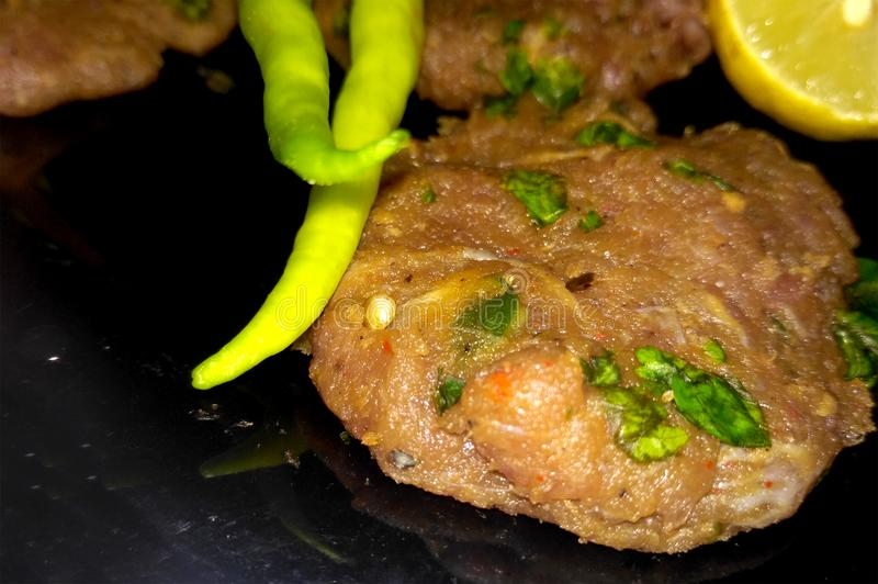 Shami Kebab With Chillies stock photography