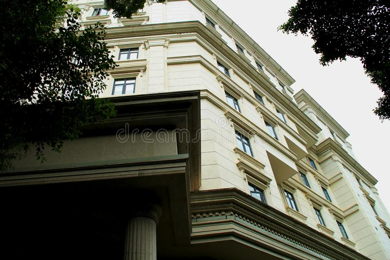 Shamian Guangzhou city historical building. Foreign institution, historical building overseas` style, European style, brics and pillars, old trees. History of stock photo