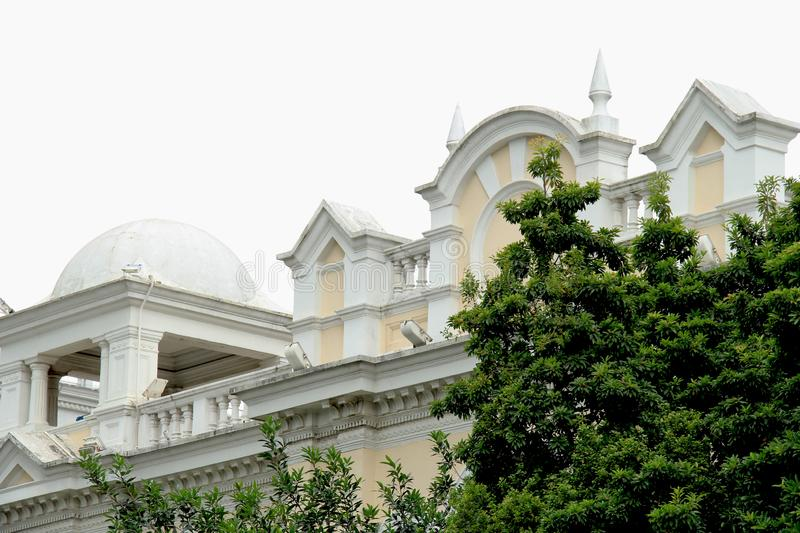 Shamian Guangzhou city historical building. Foreign institution, historical building overseas` style, European style, brics and pillars, old trees. History of royalty free stock image