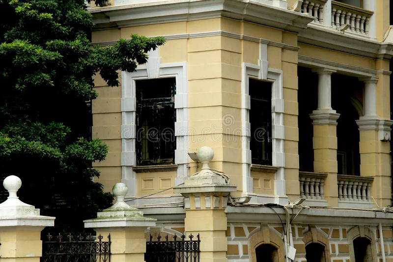 Shamian Guangzhou city historical building. Foreign institution, historical building overseas` style, European style, brics and pillars, old trees. History of stock photos