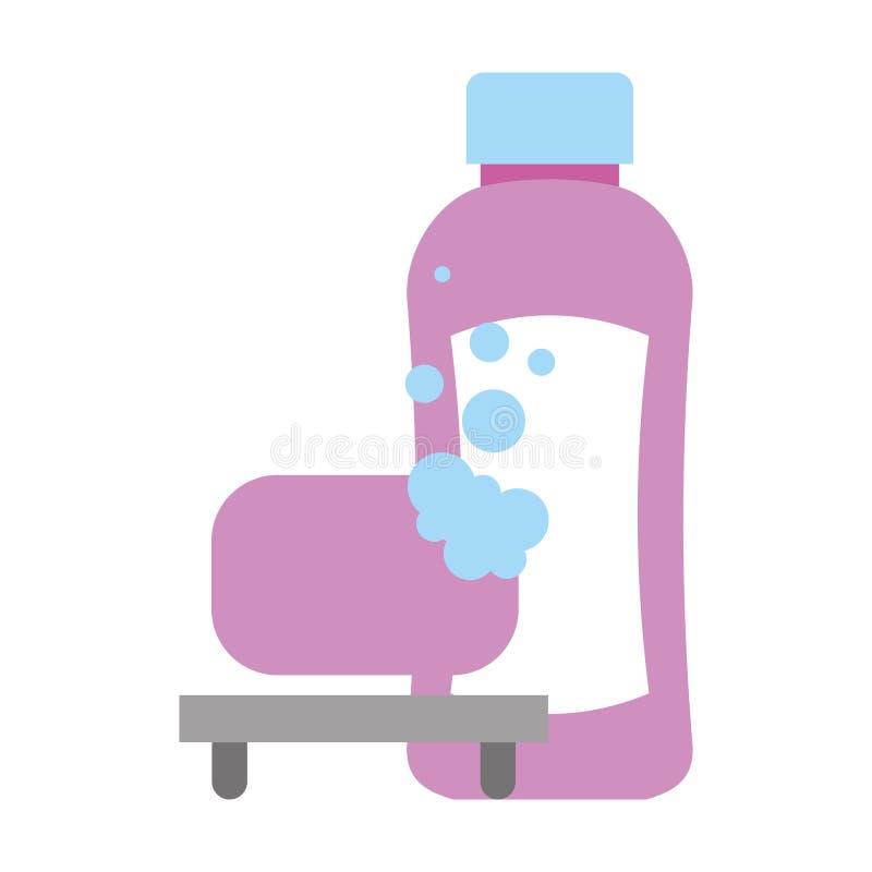 Shampoo bottle soap bubbles bathroom vector illustration