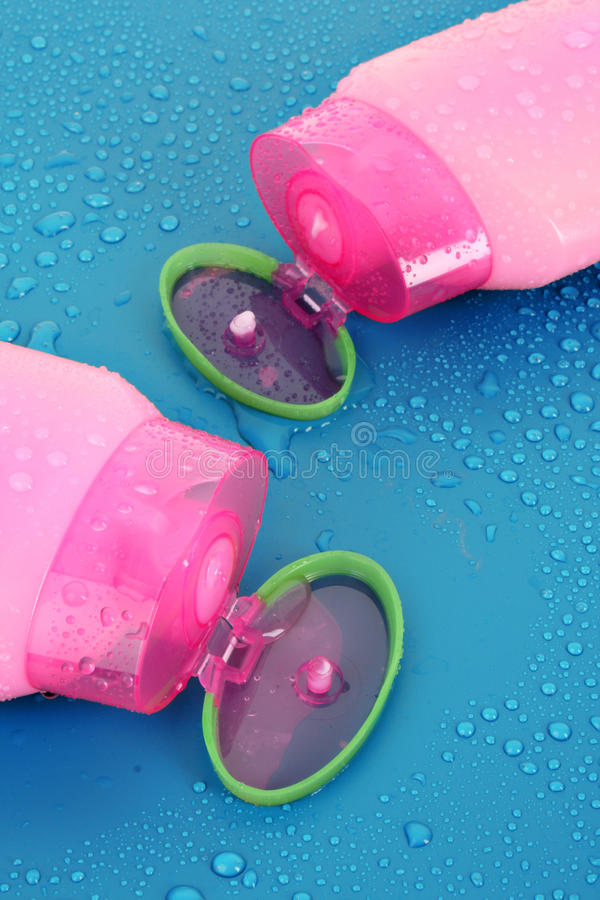 Shampoo bottles stock photography