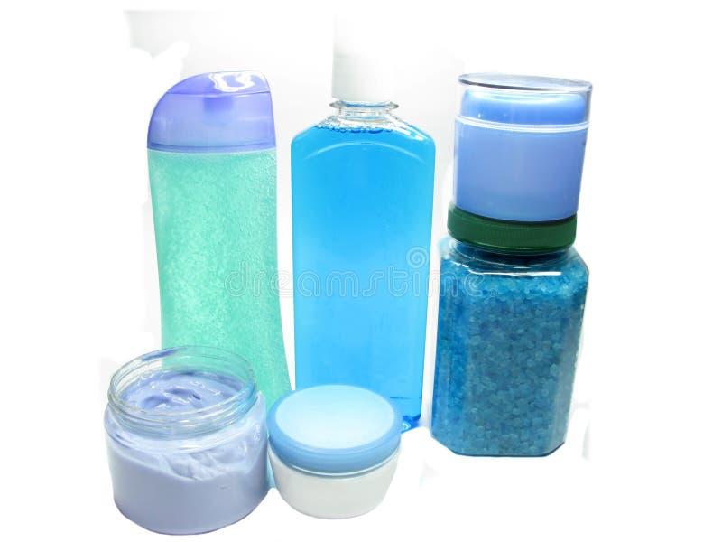 Shampoo Bottles Shower Gel Bathing Salt Set Stock Image
