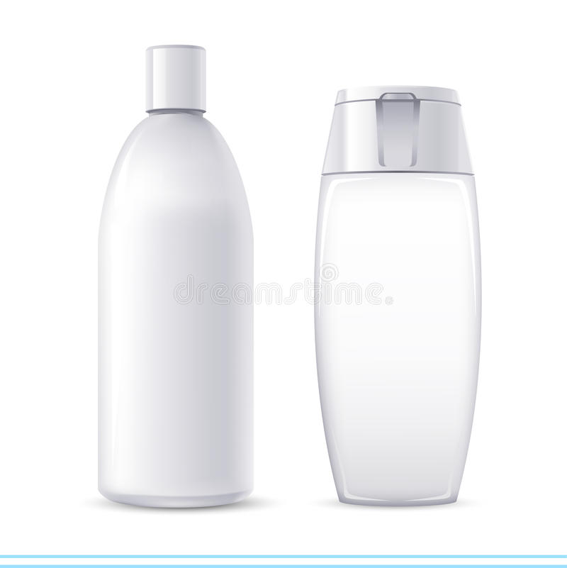 Shampoo containers. Vector white no name shampoo containers royalty free illustration