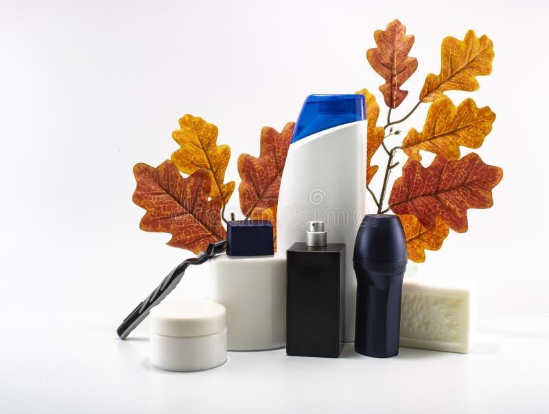 Shampoo, deodorant, lotion, perfume was taken in white background. stock photo