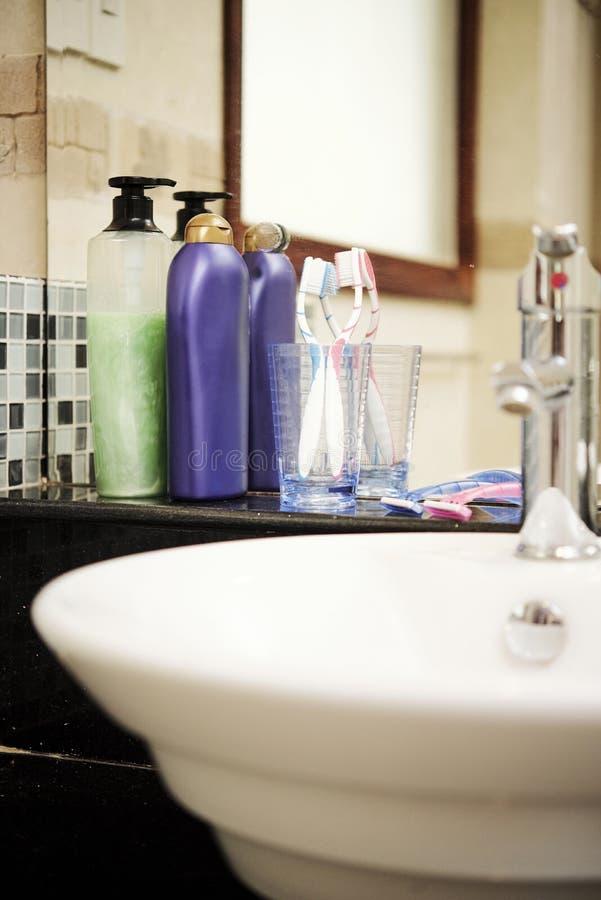 Shampoo, douchegel en andere het baden toebehoren royalty-vrije stock afbeelding