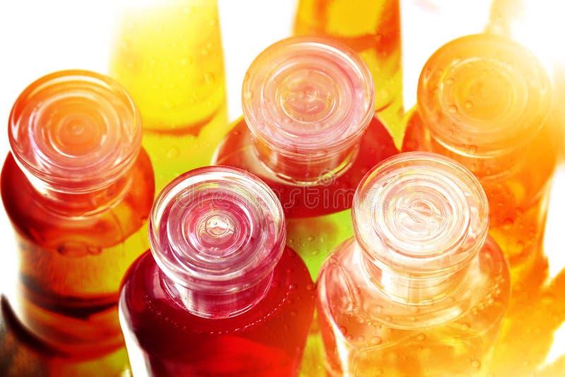 Shampoo-, Flüssigseife- oder Lotionsplastikflaschen für das Reisen stockbild