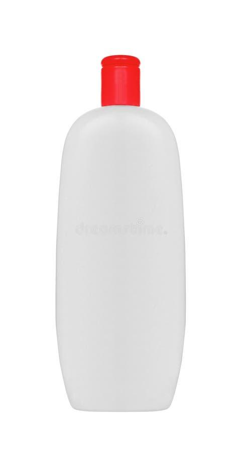 Shampoo, Gel of Lotion Witte Plastic Fles met Deksel royalty-vrije stock afbeelding