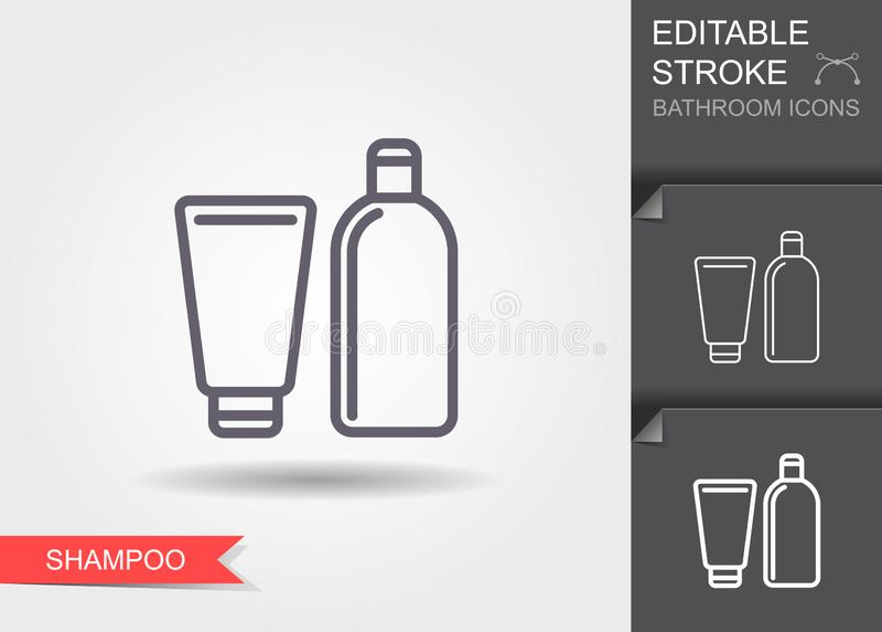 shampoo Lijnpictogram met editable slag met schaduw royalty-vrije illustratie
