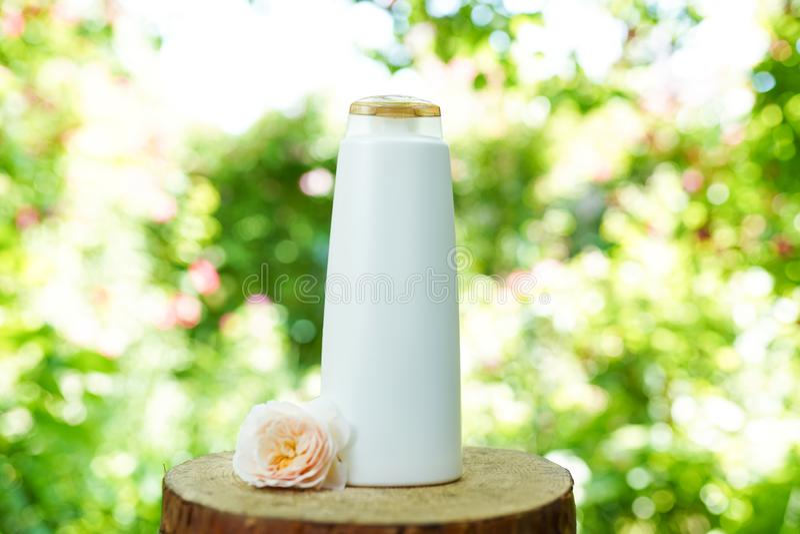 Shampoo oder Duschgel und -blume stiegen auf hölzernen natürlichen Hintergrund, Kopienraum Organische Kosmetik stockfoto