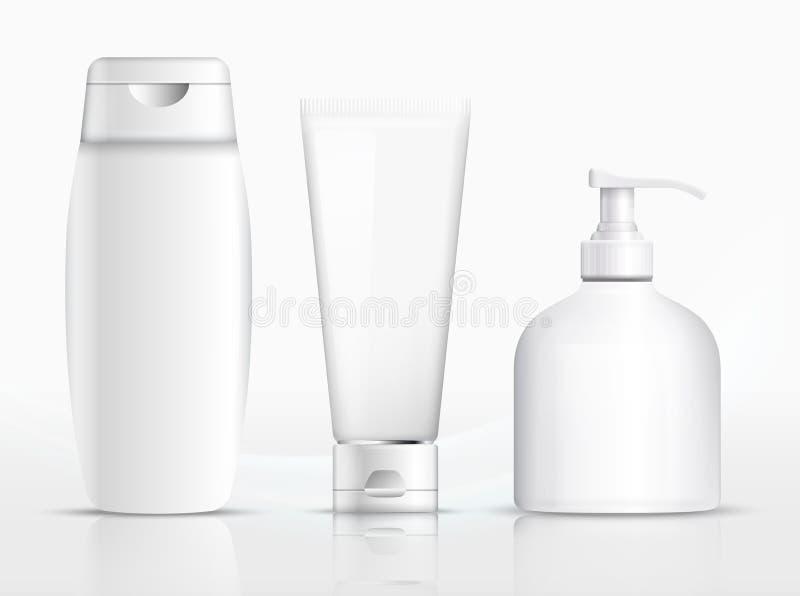 Shampoo packaging, cream tube, soap bottle template design. Vector. Illustration
