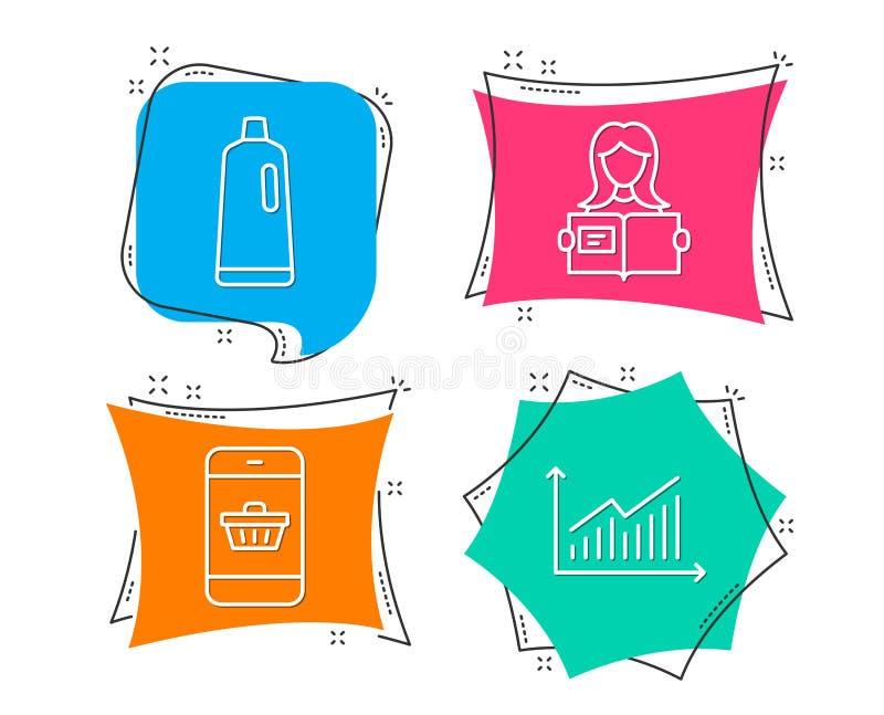 Shampoo-, Smartphone-Kaufen und Frau lasen Ikonen Diagrammzeichen Badreiniger, Websiteeinkaufen, Mädchenstudieren vektor abbildung