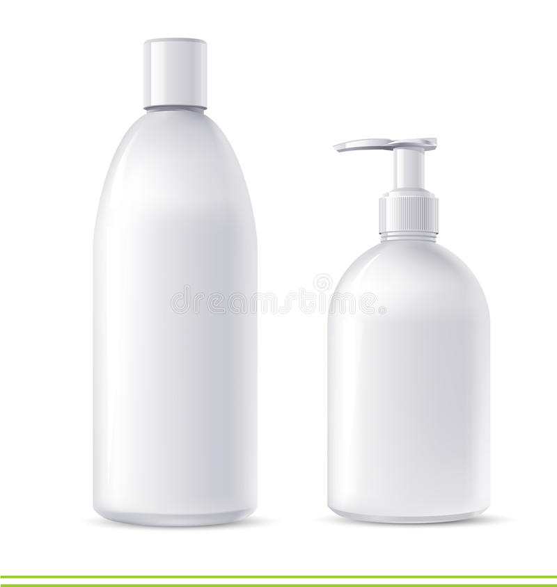 Shampoo and soap containers. Vector cosmetics shampoo and soap containers royalty free illustration