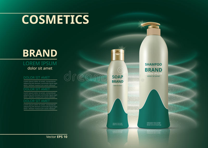 Shampoo and soap natural products realistic bottles. Mockup 3D illustration. Cosmetic package ads template. Water effect royalty free illustration