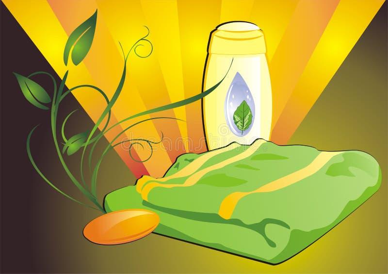 Shampoo, soap and towel vector illustration