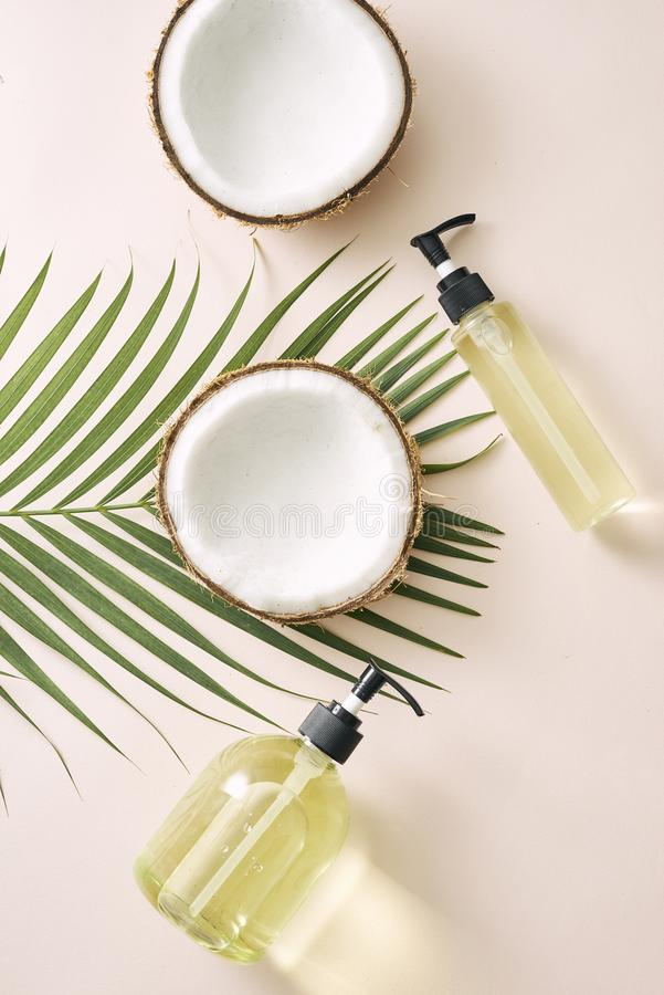 Shampoo and spray coconut hair care. Natural cosmetics homemade mask. Coconut oil and scrub. Spa and wellness. Homemade beauty. Products. Healthy lifestyle royalty free stock images