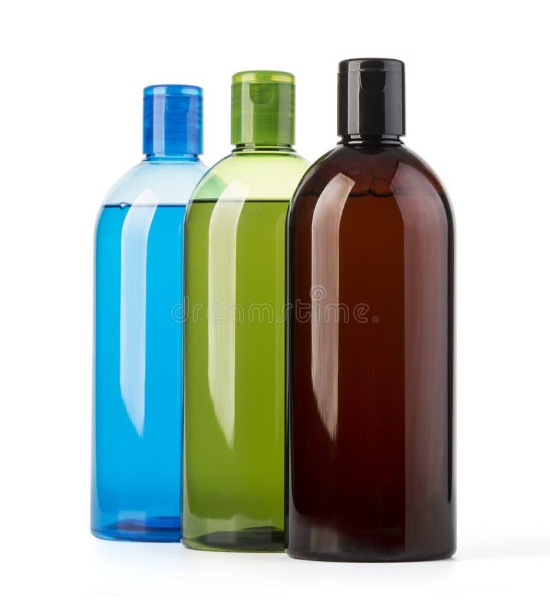 Shampooflaschen auf Weiß lizenzfreies stockfoto