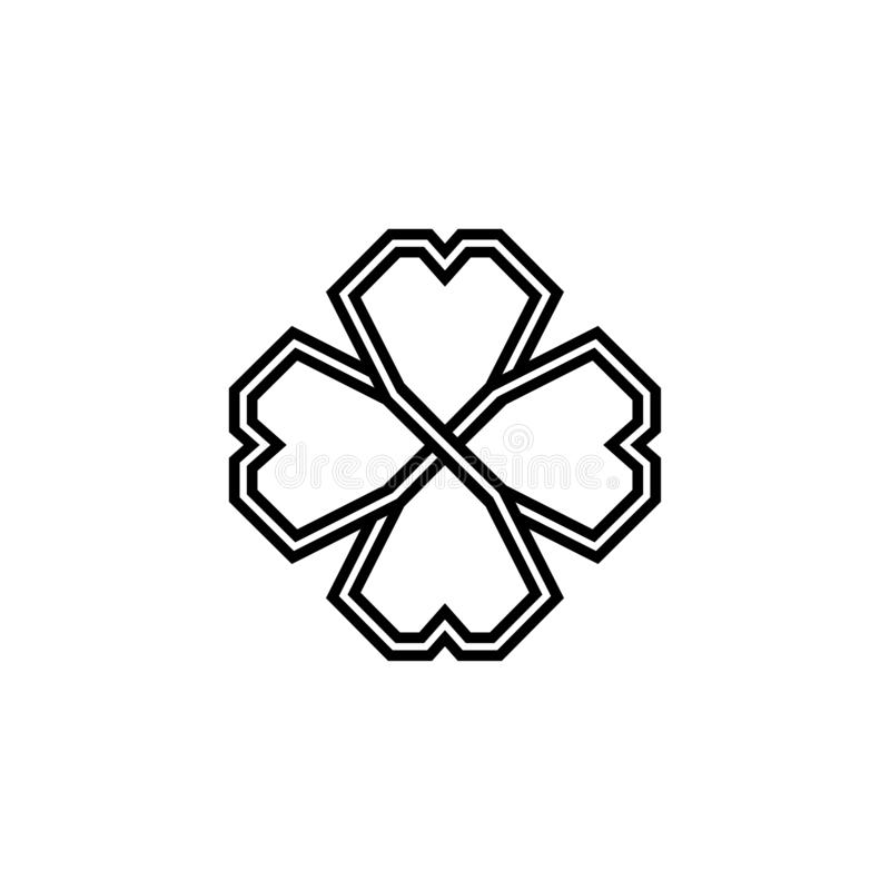 Shamrock 4 лист в кельтском стиле, значке клевера вектора дня St. Patrick иллюстрация штока