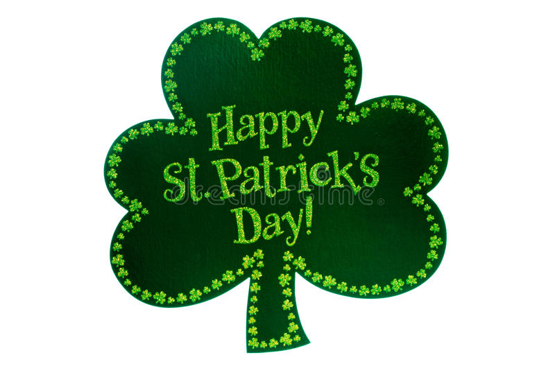 Shamrock. St. Patricks Day shamrock with Happy St. Patricks Day written on the front. Isolated on white stock photography