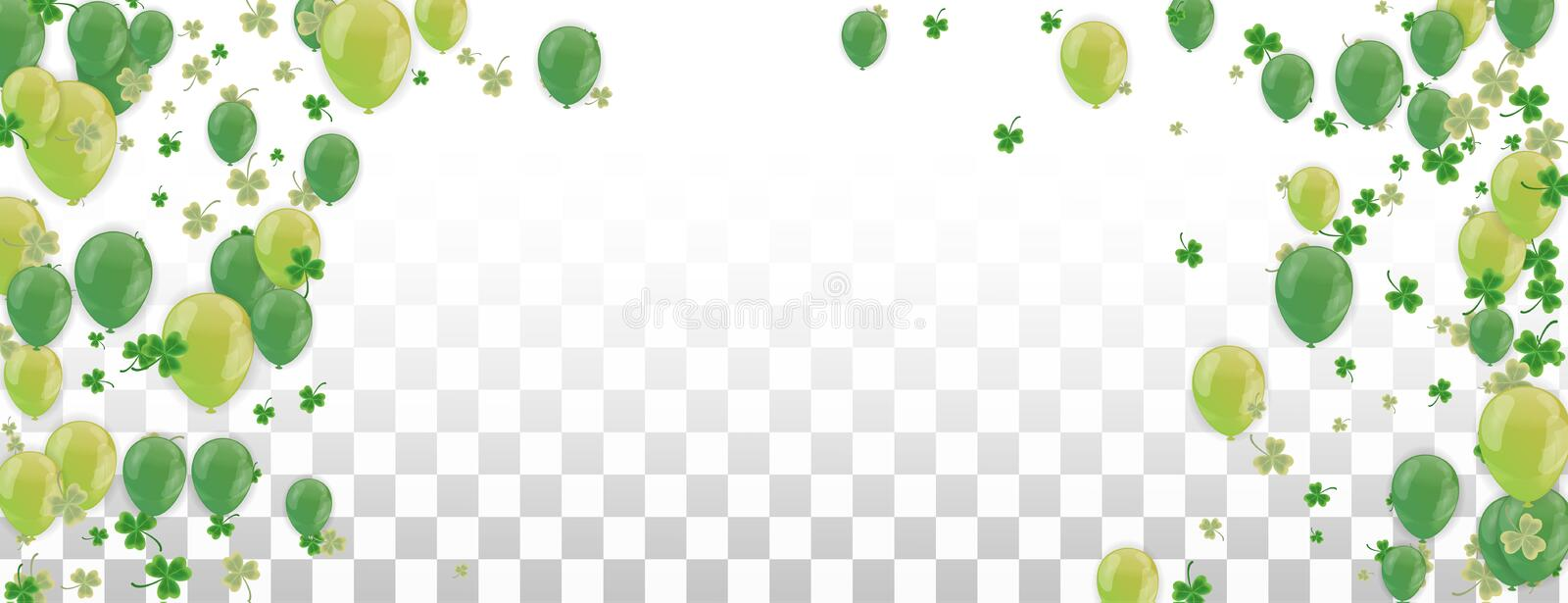Shamrock and balloons green vector Illustration of a St. Patrick`s Day Background stock illustration