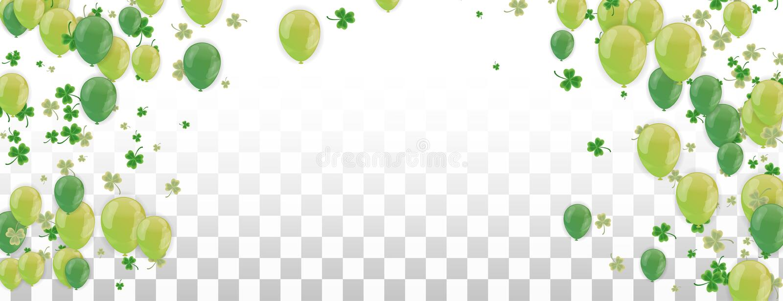 Shamrock and balloons green vector Illustration of a St. Patrick`s Day Background royalty free illustration