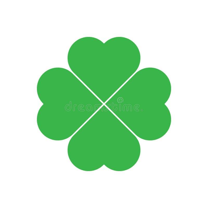 Shamrock - Blatt-Kleeikone des Grüns vier Themagestaltungselement des guten Glücks Einfache geometrische Formvektorillustration lizenzfreie abbildung