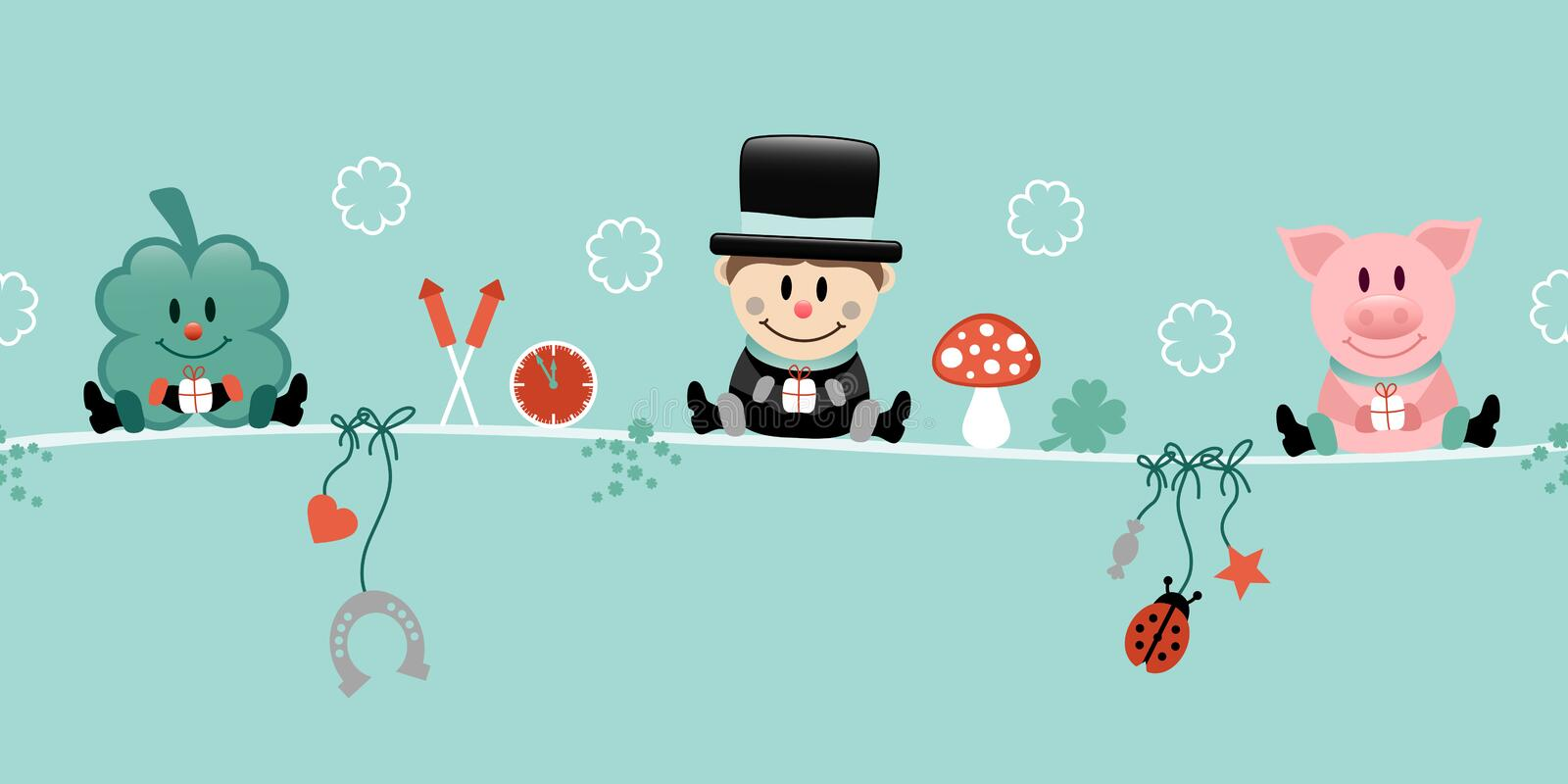 Shamrock Chimney Sweep And Pig Hanging Icons New Years Eve Turquoise 向量例证