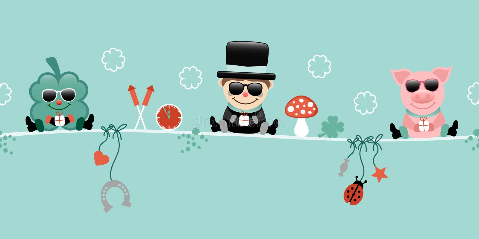 Shamrock Chimney Sweep And Pig With Sunglasses Hanging Icons New Years Eve Turquoise 库存例证