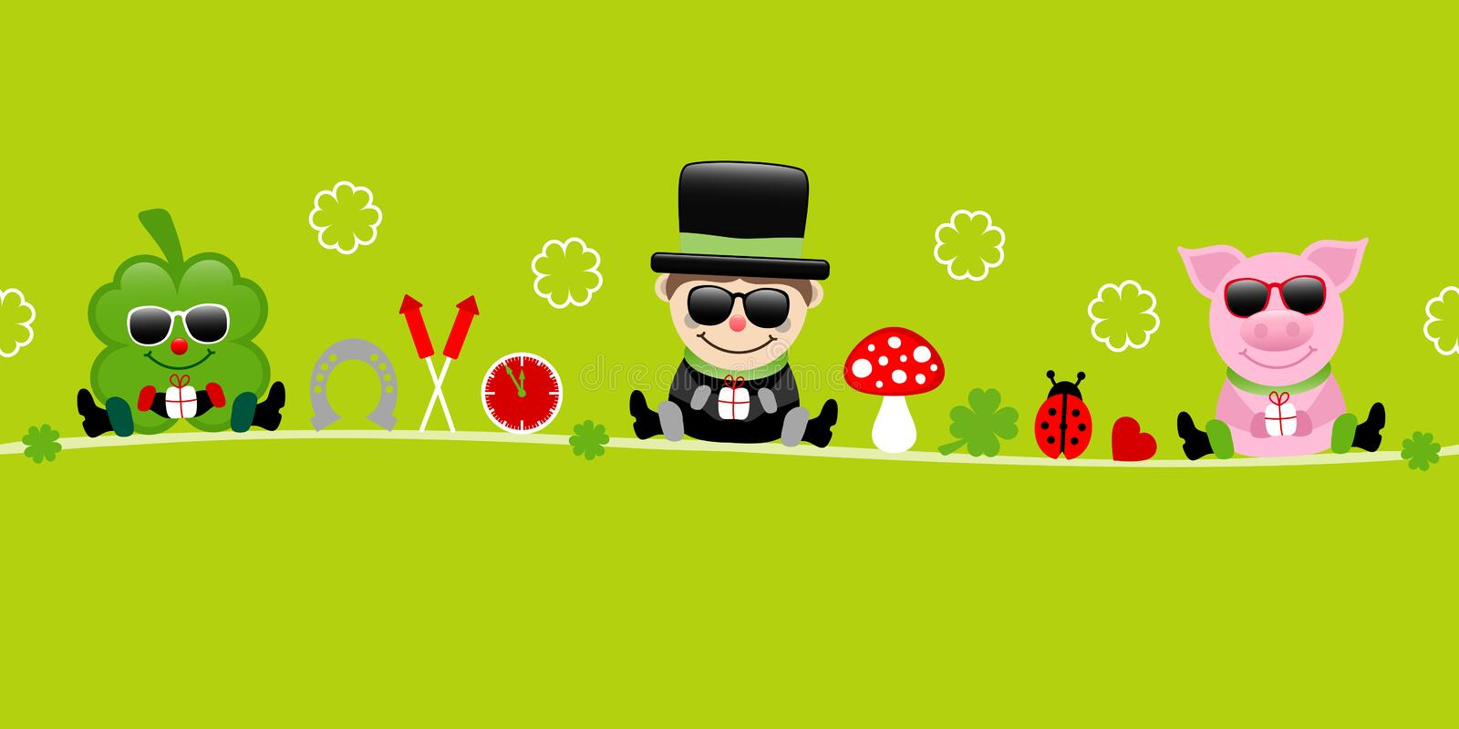 Shamrock Chimney Sweep And Pig With Sunglasses Icons New Years Eve Green. Cute Shamrock Chimney Sweep And Pig With Sunglasses Icons New Years Eve Green royalty free illustration
