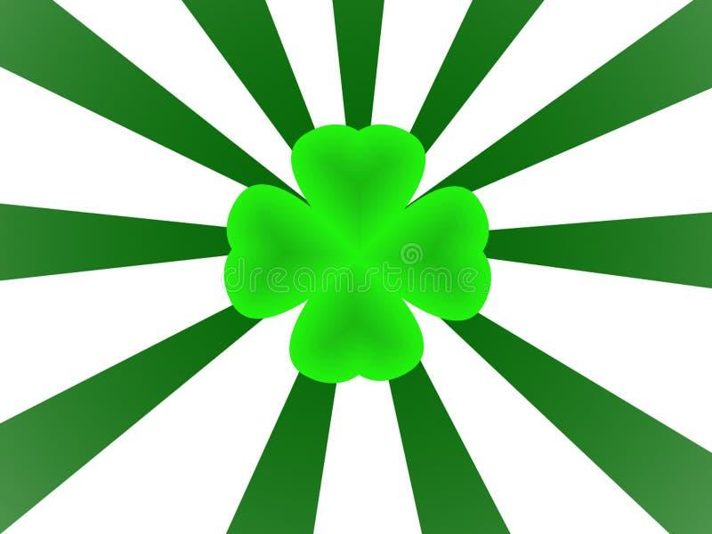 Shamrock e sunburst verdes ilustração do vetor