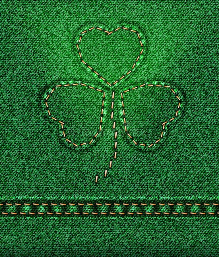 Shamrock för dag för jeansSt. Patricks stock illustrationer