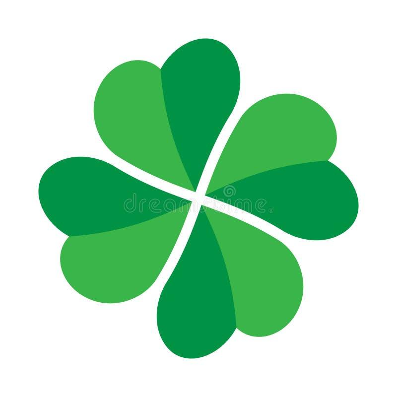 Shamrock - green four leaf clover icon. Good luck theme design element. Simple twisted shape vector illustration vector illustration
