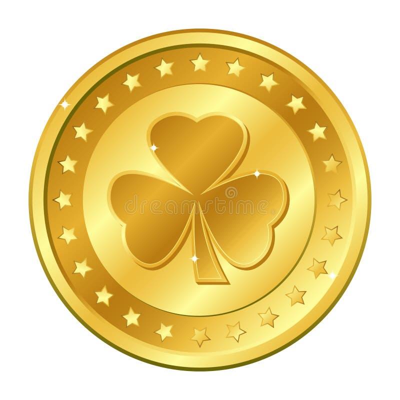 shamrock moeda de ouro do trevo da Três-folha com estrelas Dia do ` s de St Patrick irish afortunado Ilustração do vetor ilustração stock
