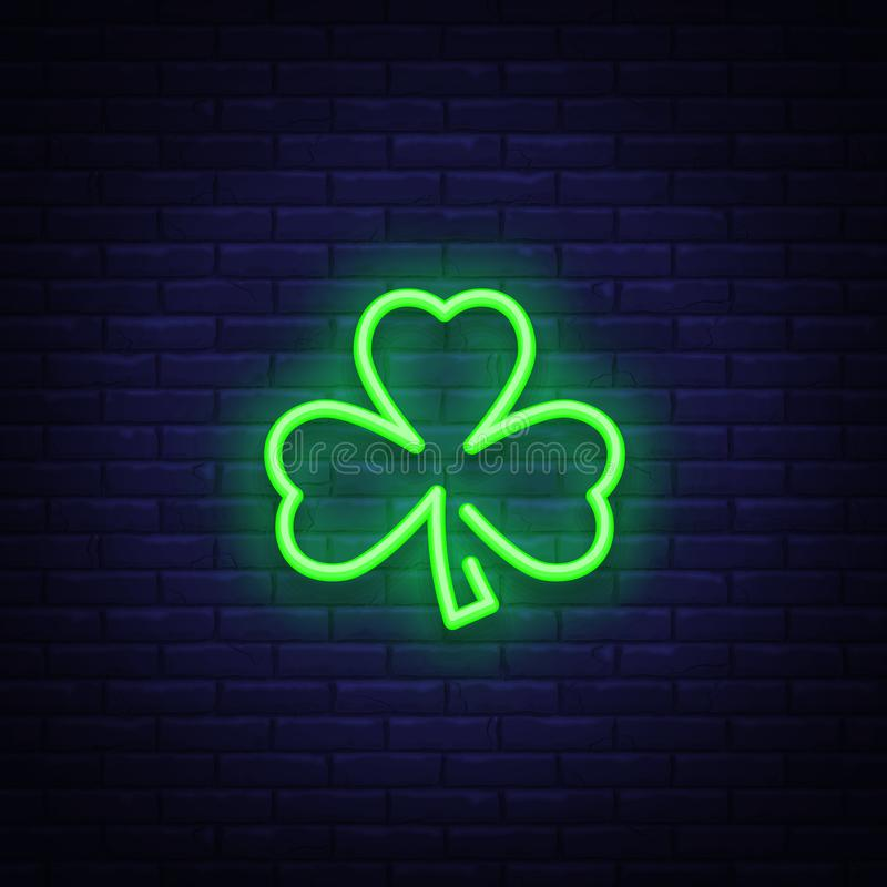 Shamrock is a neon sign. Neon icon, light symbol, web banner for your projects. Vector illustration.  stock illustration