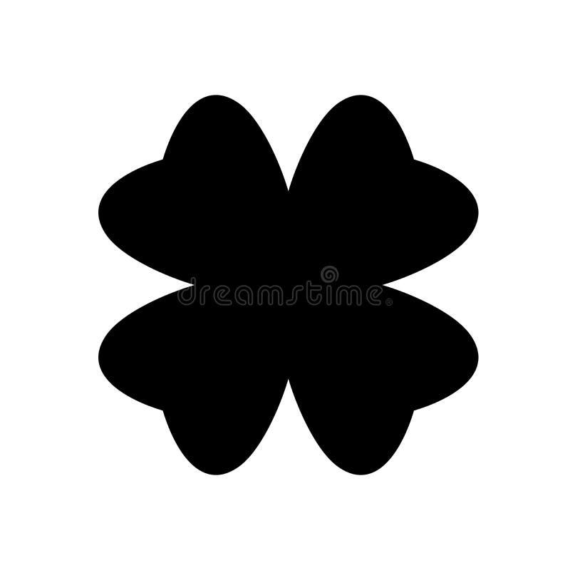 Shamrock sylwetka - czerni cztery liścia koniczyny ikona Szczęście tematu projekta element Prosta kształta wektoru ilustracja ilustracji