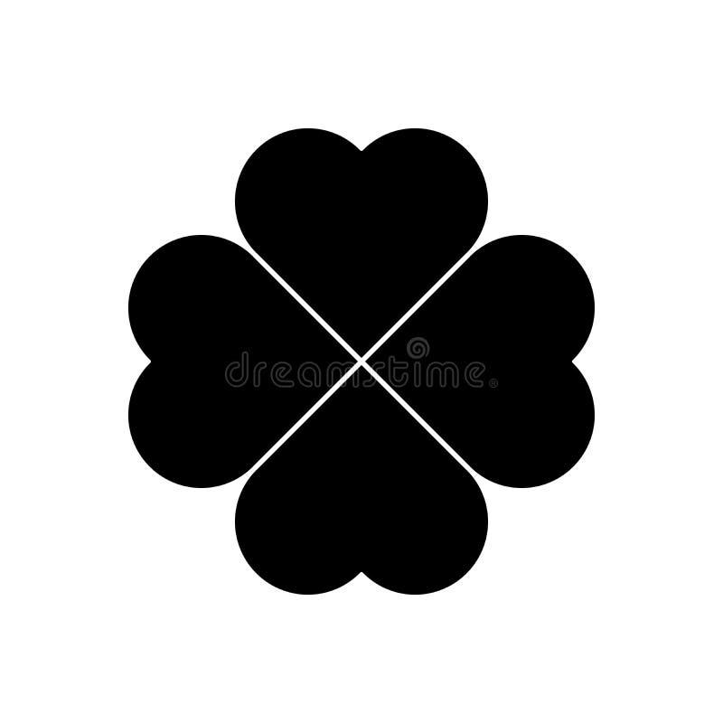 Shamrock sylwetka - czerni cztery liścia koniczyny ikona Szczęście tematu projekta element Prosty geometrical kształta wektor royalty ilustracja