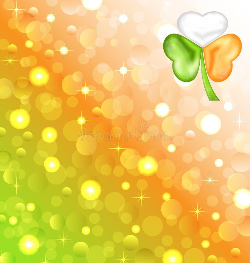 Shamrock w irlandczyk flaga kolorze dla Świątobliwego Patrick dnia ilustracji
