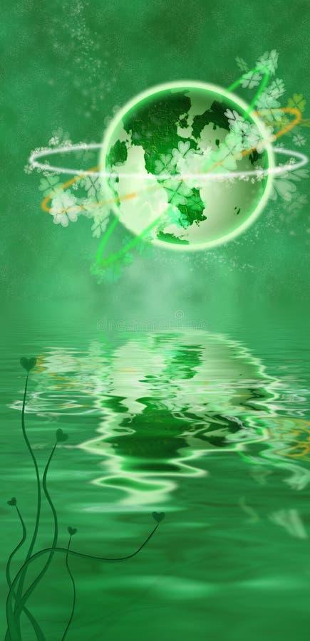 shamrocks планеты зеленого цвета галактики клеверов клевера иллюстрация вектора