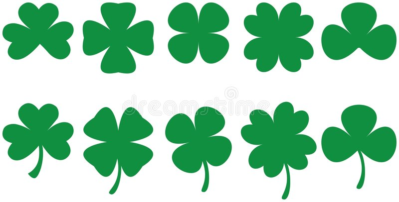Shamrocks - Four and three leaf royalty free stock photos