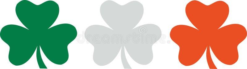Shamrocks - zielona biała pomarańczowa irlandczyk flaga ilustracji